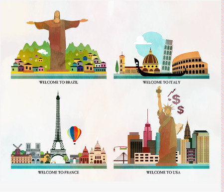 locations: Travel and tourism locations Illustration
