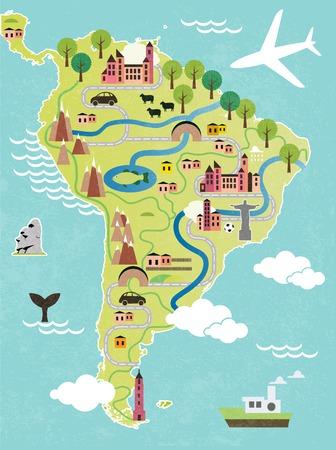 Cartoon kaart van Zuid-Amerika