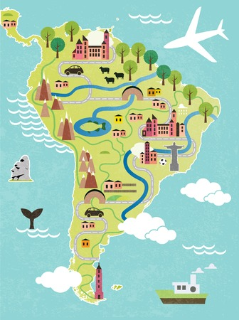 map of america: Cartoon map of South America