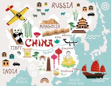 china town: Maps of China Illustration