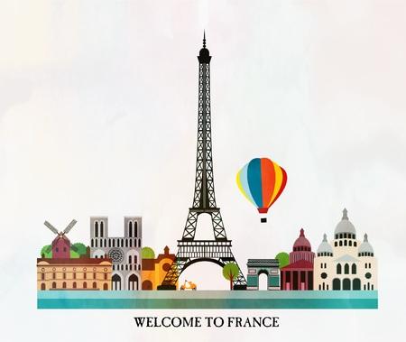 Paris card  イラスト・ベクター素材