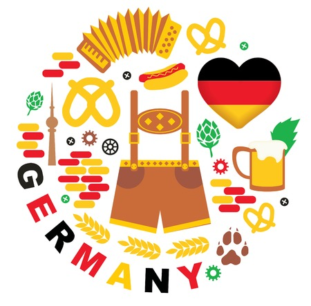 flag germany: Pattern with Germany icons Illustration