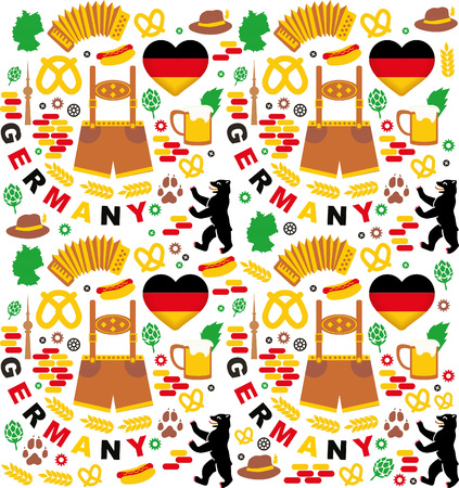 bbq barrel: Pattern with Germany icons Illustration