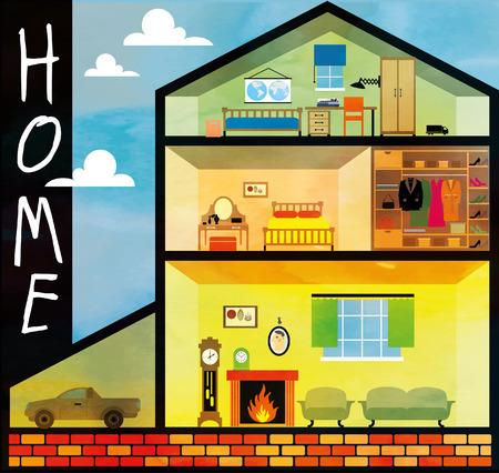 Cartoon family house Vector