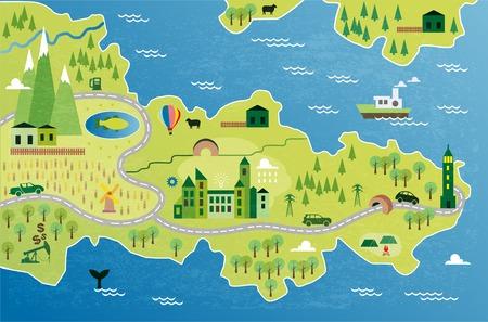 Cartoon map 向量圖像