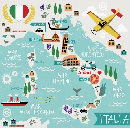 italian pizza: Cartoon Map of Italy