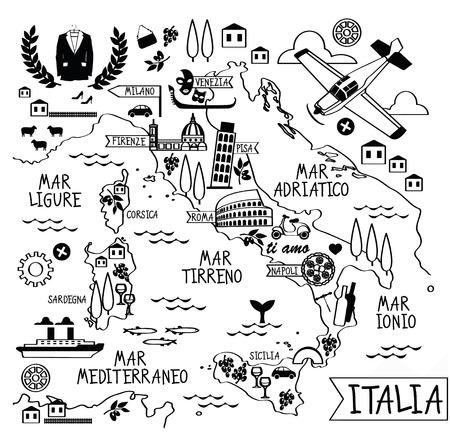 map wine: Cartoon Map of Italy