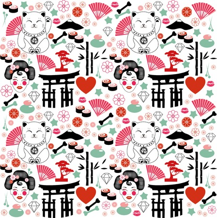 fortune cat: Japan pattern Illustration