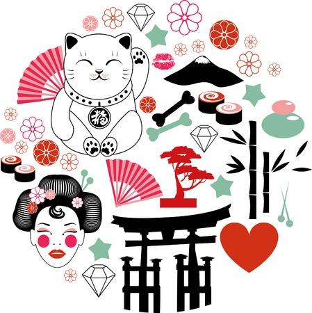 gato caricatura: Japón patrón