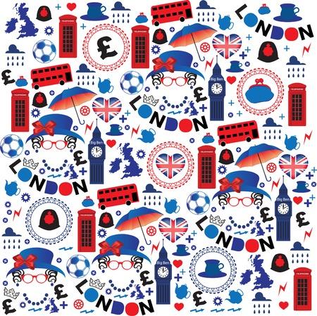 bandera inglaterra: Modelo con los símbolos de Londres Vectores