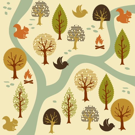 squeal: cartoon forest pattern