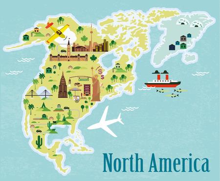 漫画の地図。北アメリカ。  イラスト・ベクター素材