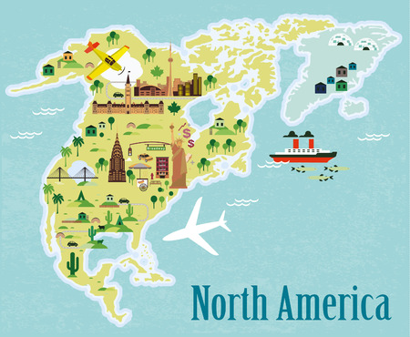 to the north: Cartoon map. North America.