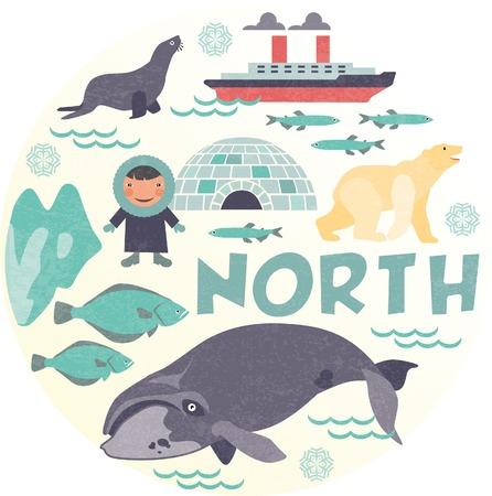esquimales: Polo norte Vectores
