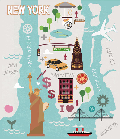 Cartoon map of new york city Vettoriali