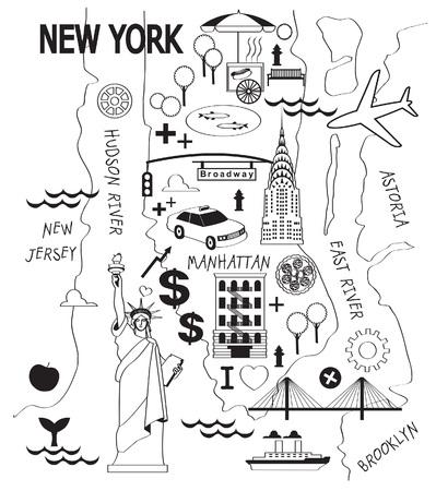 new york street: Cartoon map of new york city Illustration