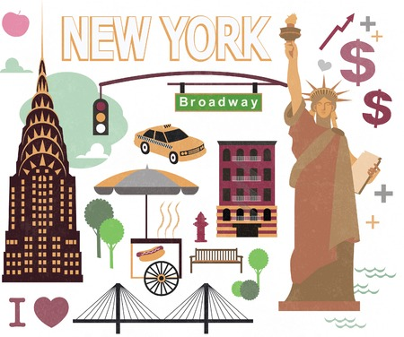 manhattan skyline: Cartoon element of new york city