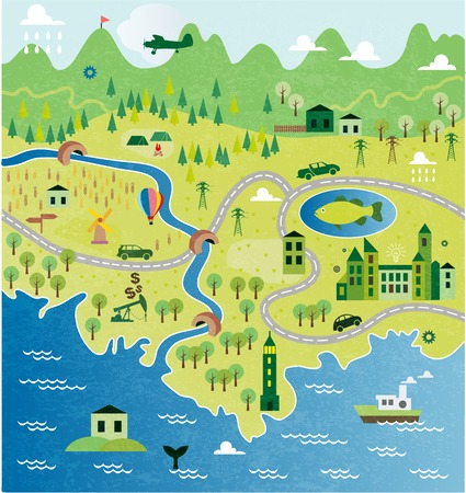 river cartoon: Cartoon map Illustration