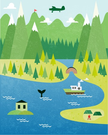 squire: Cartoon map Illustration