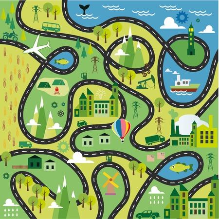 Cartoon map Ilustração