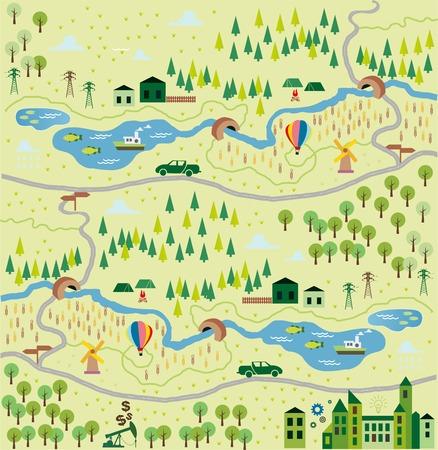 town cartoon: Cartoon map Illustration