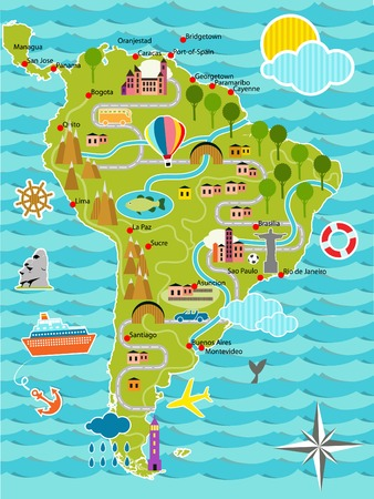 map of argentina: Cartoon map of South America
