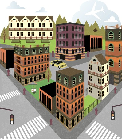 alleys: Cartoon town street in Perspective Illustration