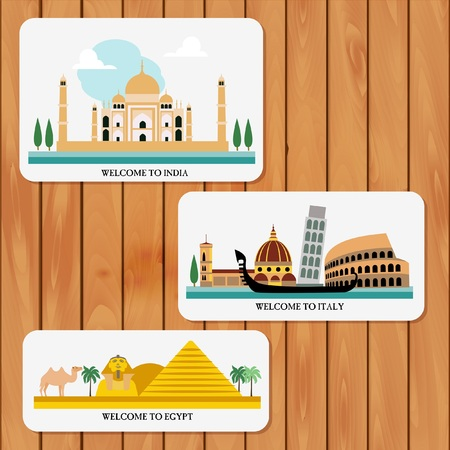 Travel and tourism locations Illustration