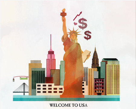 new york skyline: Gift card from new york city