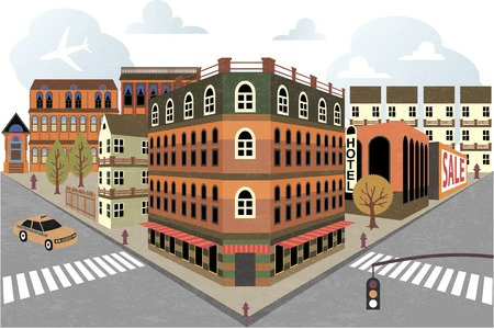 roof tile: Cartoon town street in Perspective Illustration