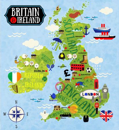 bandera uk: Cartoon Mapas de Gran Bretaña e Irlanda para niño Vectores