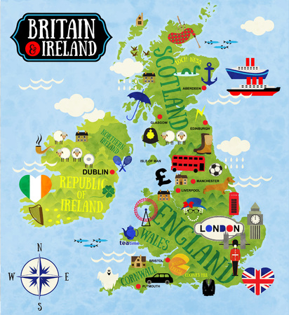 double decker bus: Cartoon Maps of Britain and Ireland for child