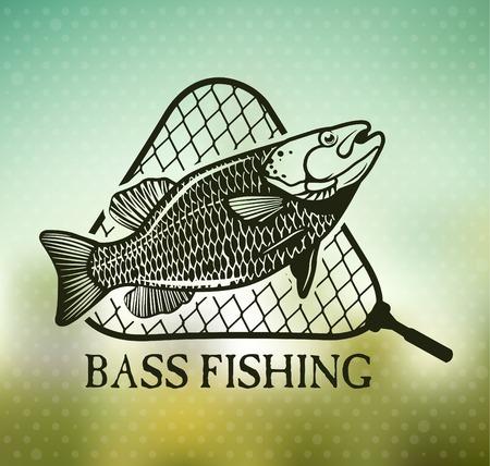 Fishing emblem on blur background Vector