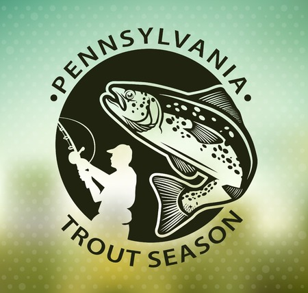 rainbow trout: Fishing emblem on blur background Illustration