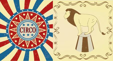 clown cirque: Cirque lion se doucher, affiche vintage