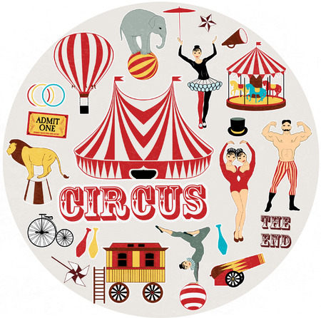 clown cirque: Cirque Starr se doucher, affiche vintage Illustration