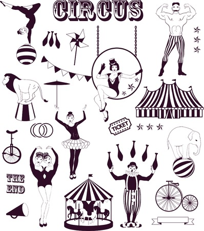 Circus Starr getting showered ,vintage Poster Vector