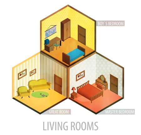 bunk bed: Vector isometric living rooms icon