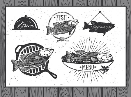 Seafood labels, fish packaging design, fishing elements Vector
