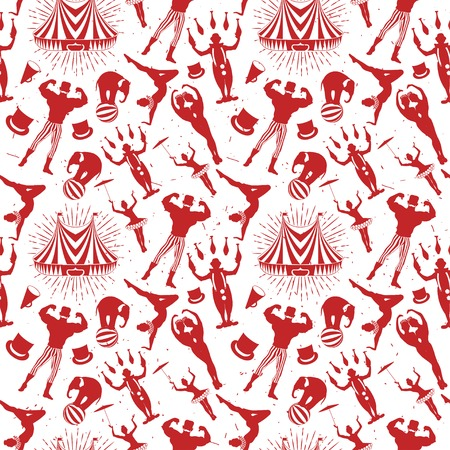 roving: Seamless Circus Pattern with red siluets