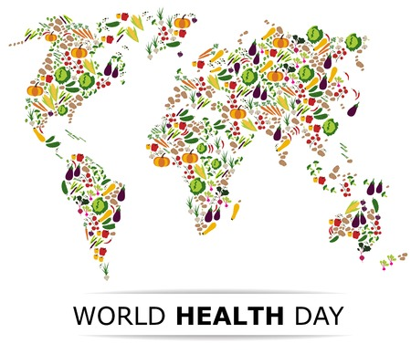 Nutrition food for healthy life, world health day concept. Cartoon world map. Ilustração
