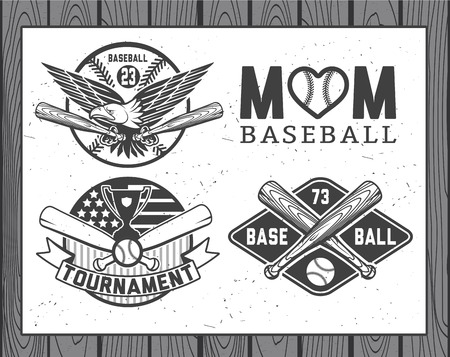 baseball: Set of vintage baseball labels and badges