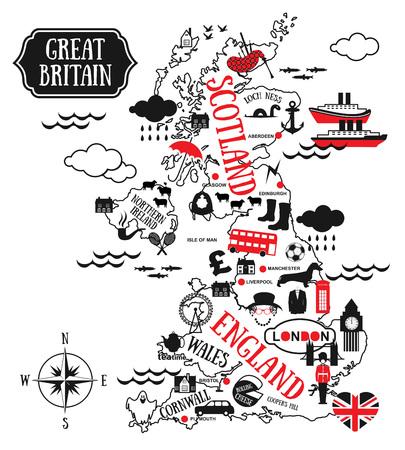 Kaarten cartoon van Groot-Brittannië voor het kind