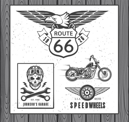 motorcycle racing: Set of vintage motorcycle labels, badges and design elements