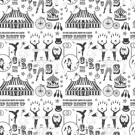 trapeze: Seamless Circus Pattern with red siluets
