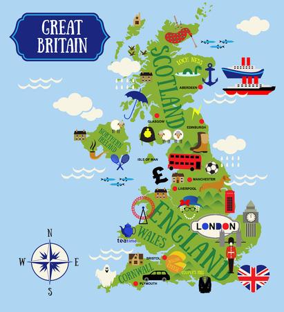 bandera de gran bretaña: Cartoon Mapas de Gran Bretaña para niño Vectores