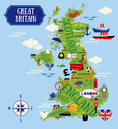 Cartoon Maps of Britain  for child Stok Fotoğraf - 37558886