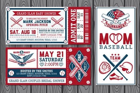 pelota de beisbol: Conjunto de etiquetas de b�isbol del vintage e insignias