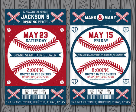 softball: Set of vintage baseball tickets Illustration