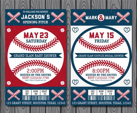 Set of vintage baseball tickets Illustration